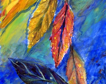 "5"" x 7"" matted acrylic painting of falling leaves"