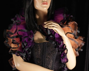 Witchy Tulle tie on shoulder shrug wrap purple green black trimmed gothic formal wedding dance bridal cosplay costume -- Sisters of the Moon