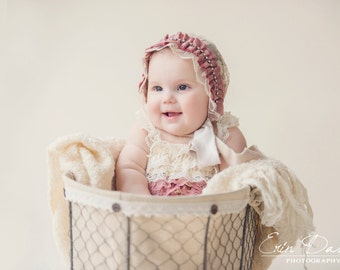 Sophia newborn Bonnet for Baby Girl , baby bonnet,newborn photo prop, newborn girl,Pink Ruffled and Rhinestone Trim