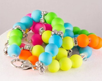 Girls neon bead and Swarovski crystal bracelet