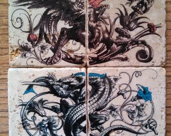 Dragon / Eagle Marble Tile Coasters - Set of 4
