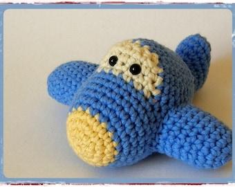 Organic cotton plane baby toy rattle