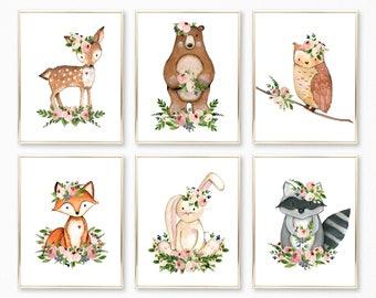 PRINTABLE. Girl Woodland Nursery Prints. Nursery Decor. Nursery Art. Woodland Nursery Girl. Nursery Wall Art. Nursery. Nursery Prints. 8x10