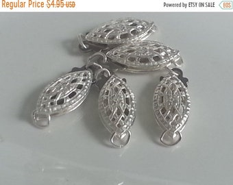 SAVE 20% 2 Pieces 925 Sterling Silver Filigree Push/Tab Clasp 12mm x 5mm MADE IN Usa