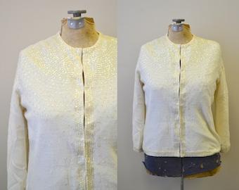 1950s Cream Sequinned Cardigan Sweater