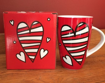 Soy Candle in Burton and Burton Valentine Heart Mug, Hand Poured & Highly Scented Eco Friendly, Clean, Long Burning, You Choose Scent