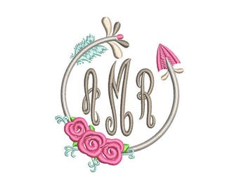 Floral Arrow Circle Monogram Frame Embroidery Design - Instant Download