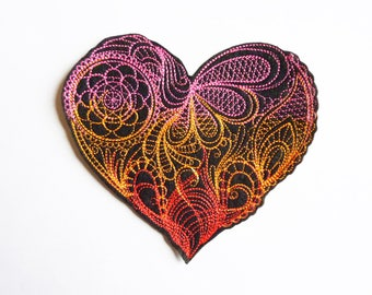 Heart 3 colors melt embroidery patch