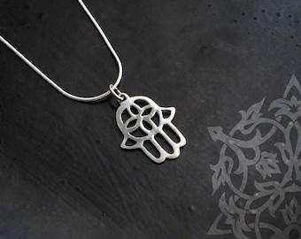 Silver hamsa pendant, khamsa necklace, Hand of fatima