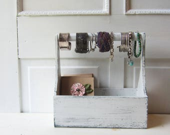 Wooden Tote Bracelet Display - Bracelet Bar & Jewelry Card Display - Distressed White Rustic Bracelet Organizer - 3 Available Ready to Ship