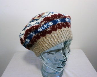 Hat - Fair Isle hand knitted beret/ tam