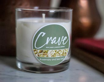 Rosemary & Sea Salt Soy Candle - Crave Candles Co