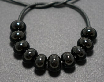 Spacer beads set, Black lampwork spacer beads, Lampwork beads, Black glass spacer, Lampwork spacer