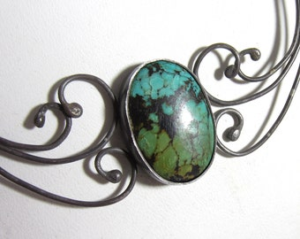 Teal Smoke Necklace - Turquoise in Sterling Silver
