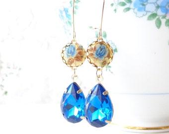 Vintage Sapphire Rhinestone Earrings - Vintage Limoges Earrings - Blue Rose Earrings - Dangle Earrings - Bridal - Bridesmaid Earrings