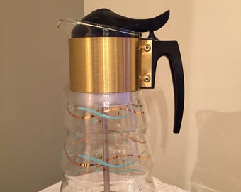 Libbey Vintage Coffee Pot Retro-Mid-Century-Atomic-Glass-Coffee-Pot-Turquoise-Gold