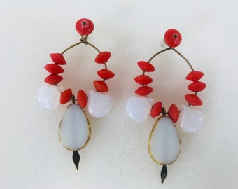 Coral and white earring jackets