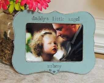Daddy little angel frame Fathers day gift dad papa daddy abu apa Personalized Custom photo picture frame daughter father bride wedding gift