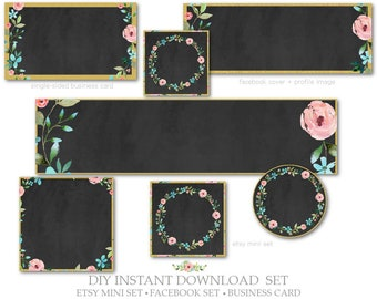 DIY Instant Download,Etsy Cover Set,Facebook Cover,Single-Sided Business Card-Chalkboard, Floral-Pink,Gold,Black-Etsy Marketing Package