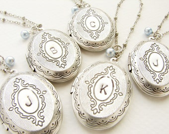 Bridesmaid jewelry Custom wedding Necklace Initial locket Personalized Necklace Initial Pendant 5 Bridesmaid Locket necklace