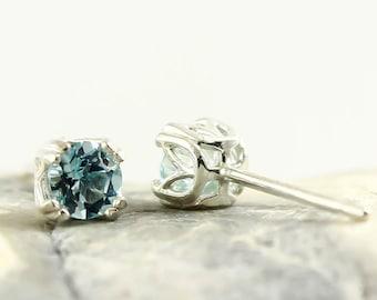 Genuine Natural Sky Blue Topaz 4mm Stud Earrings in 925 Sterling Silver Studs, Natural Gemstone earrings, December Birthstone