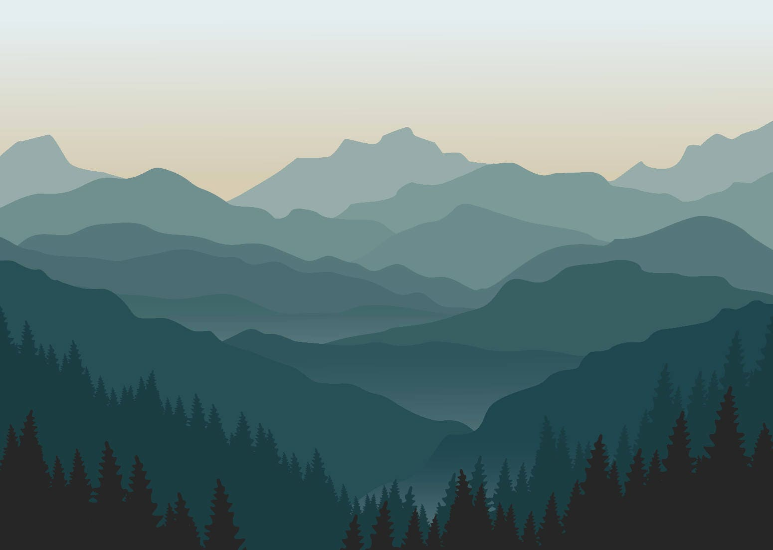 Misty mountain wallpaper foggy mountain silhouette wall mural Mountain silhouette