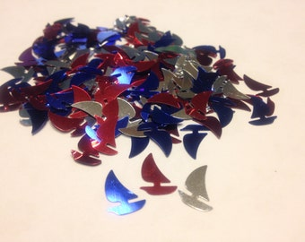 30 assorted sailboat confetti / sequins , 10 x 13 mm (17)