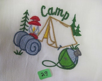 "camp  #29 100% cotton flour sack t-towel.  28""x29"" whit in color"