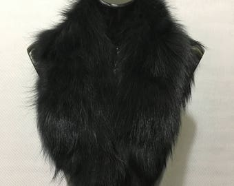 Real Natural Black Fin Raccoon Fur Collar