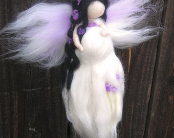 Wool Angel - Needle felted Pregnant Mommy Fairy in White Waldorf inspired  By Rebecca Varon