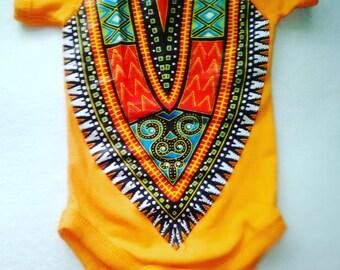 African Baby Dashiki Bodysuit Creeper