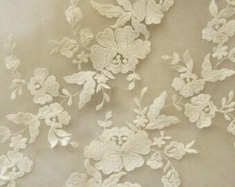 ivory bridal wedding lace applique pair