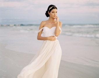 Chiffon and Lace Wedding Dress, Ivory Silk Chiffon Wedding Dress, Off The Shoulder Wedding Gown, Romantic Wedding Dress - Colette Gown