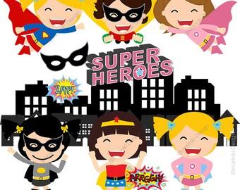 Superhero Clipart, Girls Superhero Clip Art, Cute Superhero Graphics for Birthday Invitations Scrapbook INSTANT DOWNLOAD CLIPARTS C54