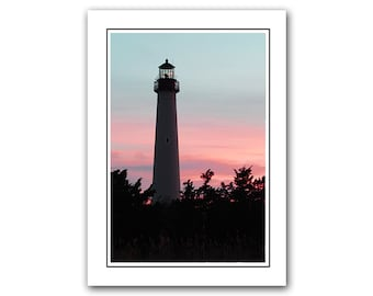 Lighthouse Note Card and Envelope, Sunset photo card, Greeting Card, pink, blue, Thank You Card, notecards