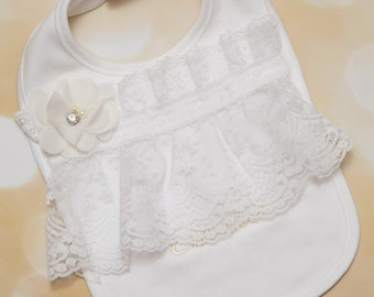 Baby Girl White Cotton Bib with 5 inch white Ribbon Lace Baby Girl Bib with Off White Chiffon