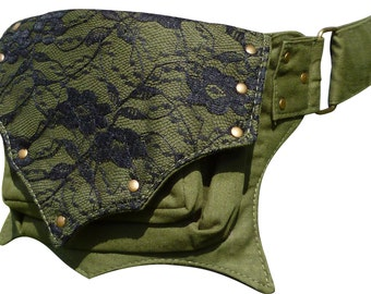 Utility Cotton Belt / Festival Pocket Belt / Hip Waist Bag / Ivy Leaf Style.