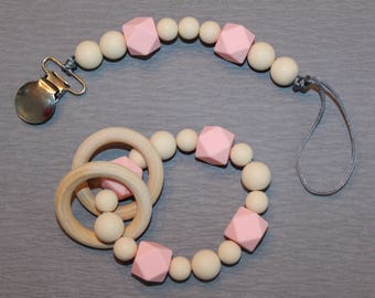 Pacifier clip and teething rattle