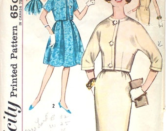 Dress with Full or Slim Skirt and Jacket Bust 32 Simplicity 4698