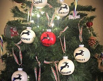 9 Reindeer Ornaments-Santas Reindeer With Names-shatterproof