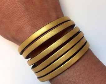 Leather Bracelet - Metallic Gold Leather Slitted Cuff Bracelet - Magnetic Closure Bracelet - Gold Bracelet - Silver Bracelet