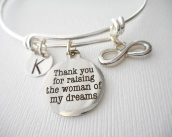 Thank You for Raising the Woman of My Dreams, Infinity- Initial Bangle/ future mother in law, mother of bride gift, gifts from groom