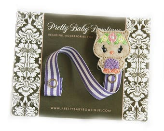 PACIFIER CLIP - Owl Woodland Floral Animal Paci Clip - Girl Binky Saver - Baby Girl Gift- Lavender