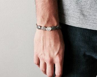 Der Labradorit Stein Armband mit Sterling Silber ovale Perlen, Herrenschmuck, Herren Armband