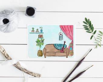 Bohemian decor lounge room greeting card - Australian art couch, ukelele, fiddle leaf fig - A6 watercolour print