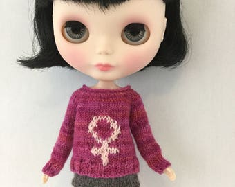 Blythe doll Venus Sweater knitting PATTERN - cute pullover style feminist sweater - instant download - permission to sell finished items