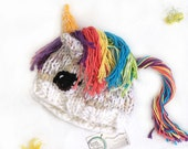 ADULT Sized Rainbow Unicorn Hat - Funny Unicorn Gift for Her - Warm Winter Hat - Unicorn Party - Kawaii Gift for Friend - Unicorn Gift Ideas