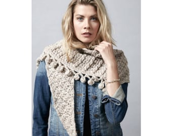Shawl Scarf Crochet Yarn and Pattern Kit - Crochet Shawl Kit - Big Bang Boomerang Crochet Yarn and Pattern Kit  by MJ's Off The Hook Design