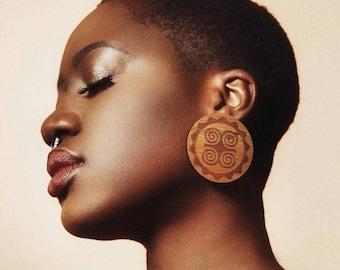 Adinkra Dwennimmen Ohrstecker / / Afrocentric / / Natur Holz / / afrikanischen und karibischen inspirierten Schmuck