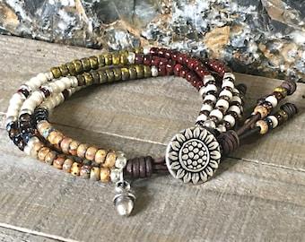 Beaded Wrap Bracelet* Sunflower Bracelet* Seed Bead Leather Wrap Bracelet* Seed Bead Bracelet* Boho Wrap Bracelet* Seed Bead Wrap Bracelet*